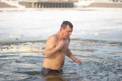 Gomel, Belarus - JANUARY 19, 2017: Bathing in the hole Orthodox people on holiday Baptism of Christ. Stock Photography