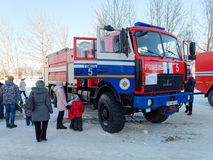GOMEL, BELARUS - JANUARY 20, 2019: Exhibition of fire fighting equipment in winter royalty free stock image
