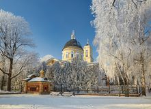 GOMEL, BELARUS - JANUARY 23, 2018: Peter and Paul Cathedral in the city park in icy frost. GOMEL, BELARUS - JANUARY 23, 2018: Peter and Paul Cathedral in the royalty free stock photo