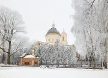 GOMEL, BELARUS - 23 JANVIER 2018 : Peter et Paul Cathedral dans la ville se garent dans le gel glacial Photo libre de droits