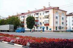 Gomel, Belarus, le 12 août 2009 : La vue de la maison sur la rue Efremova Images stock