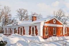 Gomel, Belarus, le 26 janvier 2006 : Tour de palais d'ensemble de Rumyantsev-Paskevich, de palais et de parc, paysage d'hiver Images libres de droits