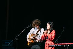 Concert of the Belarusian indie pop duo NAVI also called Naviband Royalty Free Stock Photos