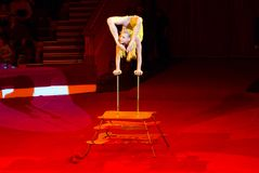 Tour of Moscow State Circus named after Nikulin. Caoutchouc number performed by Alesya Laverycheva. GOMEL, BELARUS - MARCH 23, 2018: Tour of Moscow State Circus Stock Images