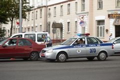 GOMEL, BELARUS - May 17, 2018: The accident. The traffic police officers on the incident. GOMEL, BELARUS - May 17, 2018: The accident. The traffic police Royalty Free Stock Photography