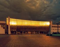 GOMEL, BELARUS - MAY 25, 2019: The building of the Ice Palace in the early morning stock photo