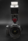 GOMEL, BELARUS - May 12, 2017: Canon 6d camera with lens on a black background. Canon is the world`s largest SLR camera manufactur. Er Stock Photos