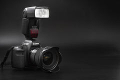 GOMEL, BELARUS - May 12, 2017: Canon 6d camera with lens on a black background. Canon is the world`s largest SLR camera manufactur. Er Stock Photography