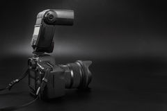 GOMEL, BELARUS - May 12, 2017: Canon 6d camera with lens on a black background. Canon is the world`s largest SLR camera manufactur. Er Stock Image