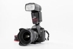 GOMEL, BELARUS - May 12, 2017: Canon 6d camera with lens on a white background. Canon is the world`s largest SLR camera manufactur. Er Royalty Free Stock Photography