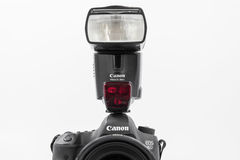 GOMEL, BELARUS - May 12, 2017: Canon 6d camera with lens on a white background. Canon is the world`s largest SLR camera manufactur. Er Stock Photography