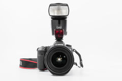 GOMEL, BELARUS - May 12, 2017: Canon 6d camera with lens on a white background. Canon is the world`s largest SLR camera manufactur. Er Stock Photo