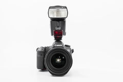 GOMEL, BELARUS - May 12, 2017: Canon 6d camera with lens on a white background. Canon is the world`s largest SLR camera manufactur. Er Stock Image