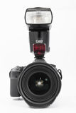 GOMEL, BELARUS - May 12, 2017: Canon 6d camera with lens on a white background. Canon is the world`s largest SLR camera manufactur. Er Royalty Free Stock Image