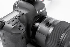 GOMEL, BELARUS - May 12, 2017: Canon 6d camera with lens on a white background. Canon is the world`s largest SLR camera manufactur. Er Stock Images