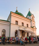 Gomel BELARUS May 1, 2016: Easter Sunday at the Cathedral of St. Nicholas. Orthodox religious holiday. Gomel BELARUS May 1, 2016: Easter Sunday at the Cathedral Royalty Free Stock Photo