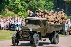 Gomel Belarus Reenactors Soldiers In Military Truck ZIS-5V. Reenactment Of WW2 Time. Gomel, Belarus - May 9, 2016: Reenactors In Russian Soviet Soldiers Uniform Stock Photo