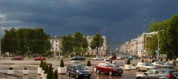 GOMEL, BELARUS - 17 May 2018: View of Sovetskaya Street from Lenin Square. GOMEL, BELARUS - 17 May 2018: View of Sovetskaya Street from Lenin Square Royalty Free Stock Photo