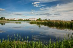 Gomel. Belarus. The new district of the Swedish Slide royalty free stock photography