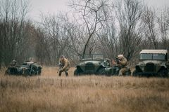Red Army men engage in battle with cars and motorcycles. Gomel, royalty free stock photography