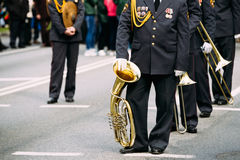 Gomel, Belarus. Orchestra of the Ministry of Internal Affairs parade. Gomel, Belarus. Orchestra of the Ministry of Internal Affairs participating in the parade Royalty Free Stock Images