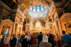 Gomel, Belarus. Parishioners People Visiting Public Church Service. Gomel, Belarus - September 11, 2016: Parishioners People Visiting Public Church Service In stock image