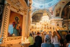 Gomel, Belarus. Parishioners People Visiting Public Church Service. Gomel, Belarus - September 11, 2016: Parishioners People Visiting Public Church Service In stock photos