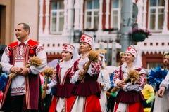 Gomel, Belarus. People man and women in national Belarusian folk stock images