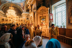 Gomel, Belarus. Procession During Public Church Service In Peter. Gomel, Belarus - September 11, 2016: Procession During Public Church Service In Peter And Paul royalty free stock image