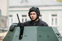 Gomel, Belarus. Re-enactor Dressed As Russian Soviet Crew Member Stock Images