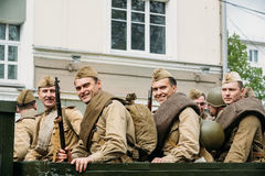Gomel, Belarus. Re-enactos Dressed As Russian Soviet Soldiers Of Royalty Free Stock Photography
