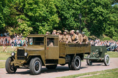 Gomel Belarus Reenactors Soldiers In Military Truck ZIS-5V. Reen Royalty Free Stock Photo
