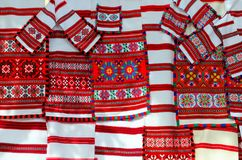 Belorussian woven towels with bright multi-colored geometric pattern. GOMEL, BELARUS - SEPTEMBER 12, 2015: Belorussian woven towels with bright multi-colored Royalty Free Stock Image