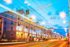 Gomel, Belarus. Traffic And Light Trails On Lenin Avenue In Evei Stock Images