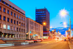 Gomel, Belarus. Traffic And Light Trails On Lenin Avenue In Eveining Or NIght. Street At Night At Long Exposure Royalty Free Stock Images