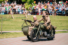 Gomel Belarus. Two Soviet Soldiers On Tricycle Sidecar. Reenactm Royalty Free Stock Photography