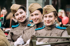 Gomel, Belarus. Young Women Girls Re-enactors Dressed As Russian Stock Photo