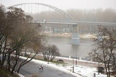 Gomel Białoruś, Grudzień, - 28, 2017: Zwyczajny most w miasto parku Obraz Royalty Free