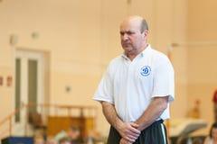 Gomel Białoruś, MAJ, - 21, 2012: Rywalizacja wśród chłopiec w 2006, 2007 w gimnastykach - Dyscyplina - ogólny fizyczny szkolenie Zdjęcia Royalty Free