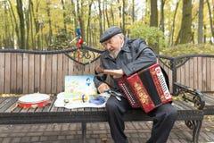 Gomel Białoruś, PAŹDZIERNIK, - 25, 2015: Ulica muzyk bawić się akordeon w parku zdjęcie stock