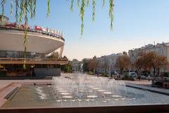 GOMEL BIAŁORUŚ, Wrzesień, - 21,2011: cyrkowy budynek na Sovetskaya ulicie Budujący w 1972 Projekt budynek zamierzał dla const Obrazy Royalty Free
