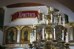 GOMEL BIAŁORUŚ, Wrzesień, - 23, 2017: Kościół Święty Wielki męczennik George Zwycięski kościelny wnętrze Obraz Royalty Free