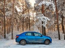 Gomel, Bielorrússia - 24 de janeiro de 2018: um carro azul RENAULT LOGAN estacionou na floresta do inverno imagem de stock royalty free