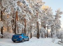 Gomel, Bielorrússia - 24 de janeiro de 2018: um carro azul RENAULT LOGAN estacionou na floresta do inverno fotografia de stock