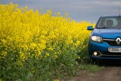GOMEL, BIELORRÚSSIA - 24 de maio de 2017: o carro azul é estacionado no campo verde Foto de Stock