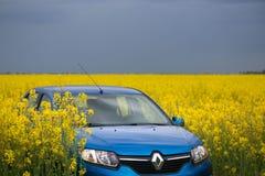 GOMEL, BIELORRÚSSIA - 24 de maio de 2017: o carro azul é estacionado no campo verde Foto de Stock Royalty Free
