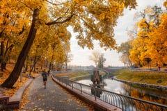 Gomel, Bielorrússia - 11 de outubro de 2014: os homens novos e as mulheres por uma manhã movimentam-se cidade parque em um 11 de  Foto de Stock