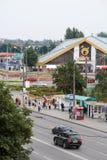Gomel, Bielorrússia, o 12 de agosto de 2009: A vista superior da rua Ephraim do mercado Imagens de Stock