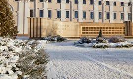Gomel, Bielorrusia - 24 de enero de 2018: El tablero del honor de la región de Gomel en el cuadrado de Lenin Fotos de archivo
