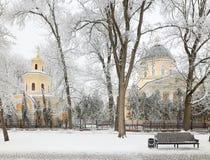 GOMEL, BIELORRUSIA - 23 DE ENERO DE 2018: Peter y Paul Cathedral en la ciudad parquean en helada helada Foto de archivo